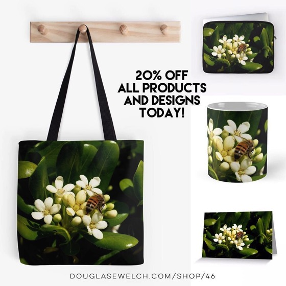 20% OFF Everything Today – Honeybee At Her Springtime Work on Totes, Cards, Laptop Sleeves, and Much More!