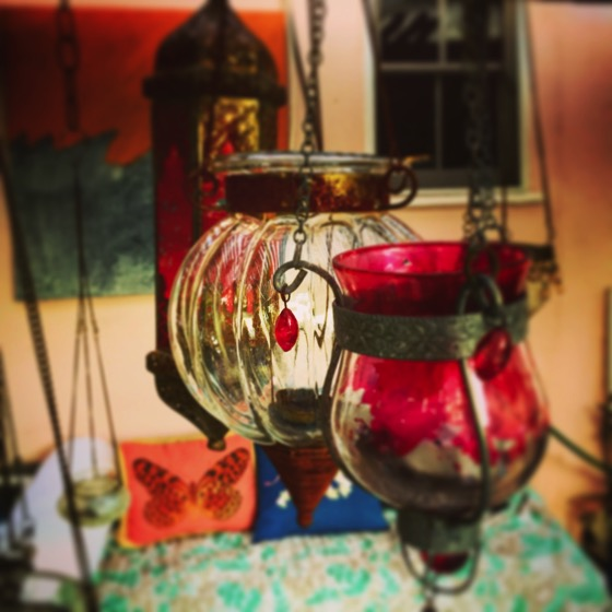 In Sarah and Paul's Garden</p>  <p>Hanging candle holders in our friend's garden before dinner last night. #garden #home #decor #accessories