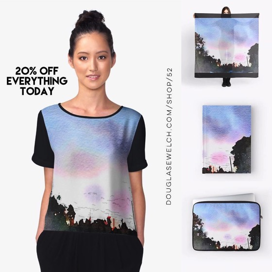 20% OFF Everything Today! - Watercolor Sunset Scarves, Journals, Laptop Cases and Much More!