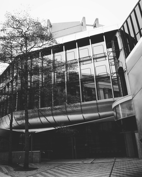 Modern Architecture in Wellington City Center in Black and White