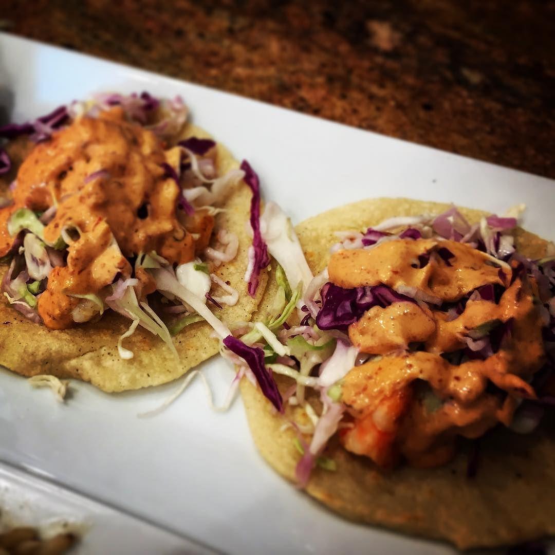 Shrimp tacos mykes