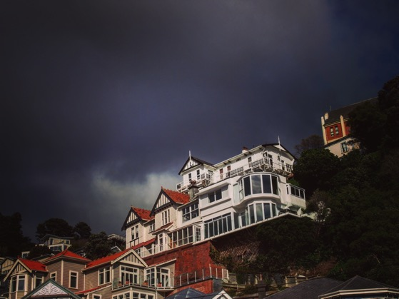 Stormy skies and Victorian architecture overlooking Oriental Parade. Wellington, New Zealand
