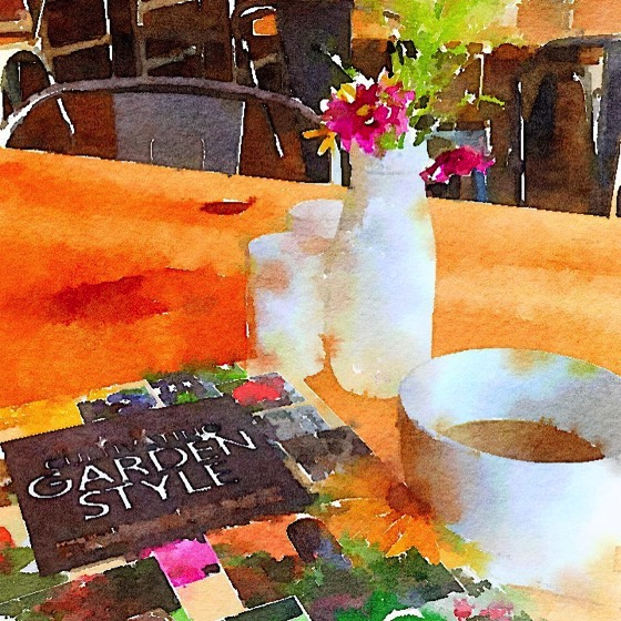 Today's Coffee Break Reading at Farm Table (Watercolor)