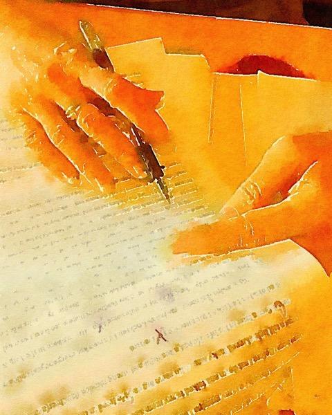 Hands at work Watercolor via Instagram