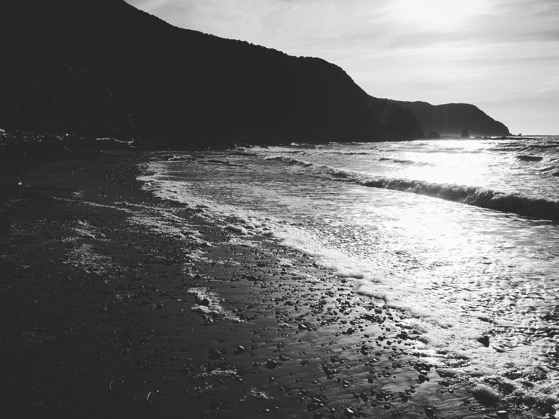 Makara Beach, New Zealand in Black and White