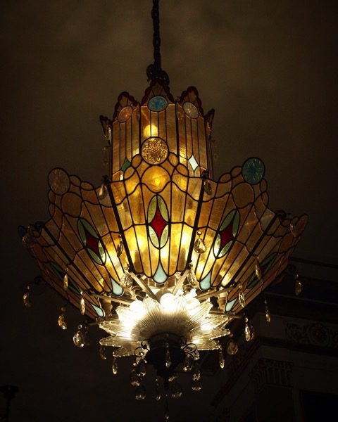 Chandelier at Tiger Hotel, Columbia, Missouri