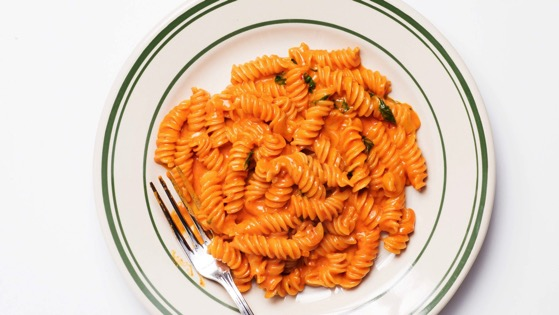 Fusilli alla Vodka with Basil and Parmesan via Bon Appetit