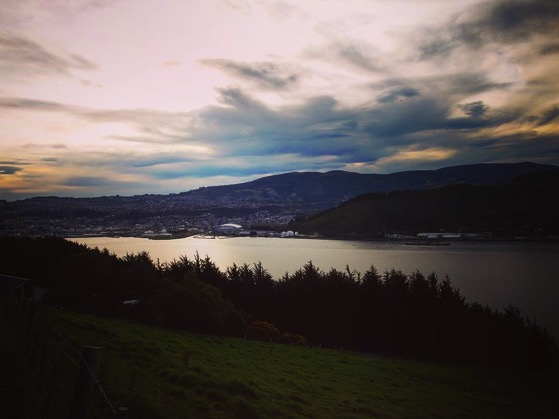 Otago Harbor looking west towards Dunedin