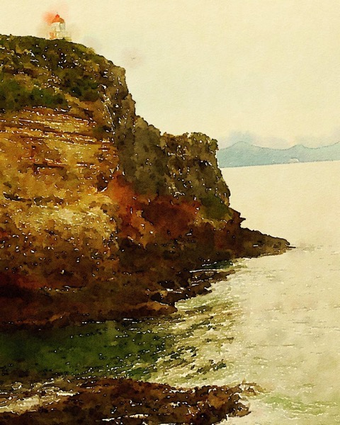 Taiaroa Head, Dunedin, New Zealand in Watercolor via Instagram