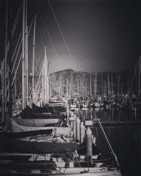 Sailboats in Ventura Harbor in Black and White via Instagram