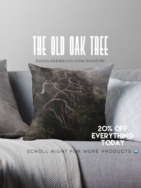 20% OFF Everything Today! - The Old Oak Tree, Prisoners Harbor, Santa Cruz Island Pillows, Totes, iPhone Cases, Mugs and Much More!