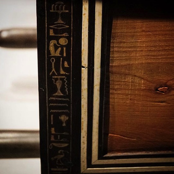 Hieroglyphics Detail On Wooden Box via My Instagram
