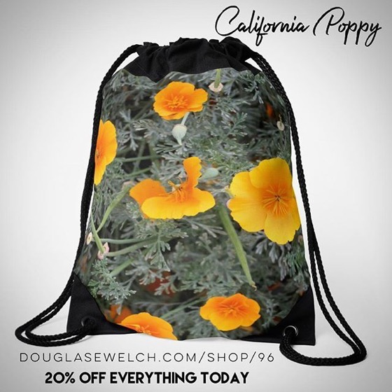 20% Off Everything Today! – Do Some California Dreamin' with these California Poppy Drawstring Bags, Totes, Cards, Cases, Pillows and More!