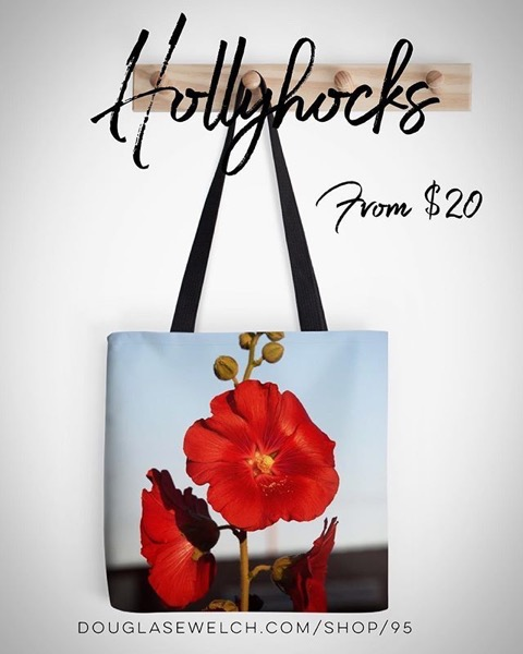 Dress up your Day with these Red Hollyhock Totes, Cards, Cases, Pillows and More!
