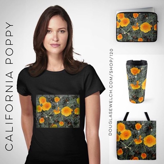 Experience Some California Gold with these California Poppy Tees, Mugs, Laptop Sleeves, Totes, and Much More!