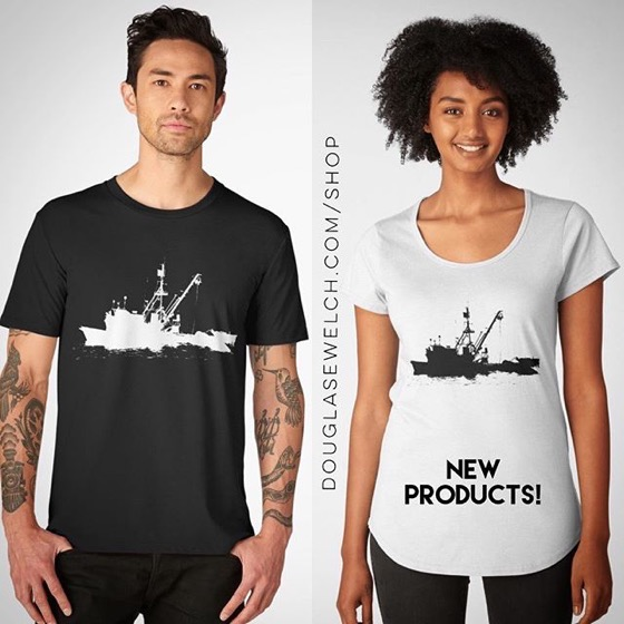 Fishing Boat Silhouette on Tees, Tops, Bags, and Much More!
