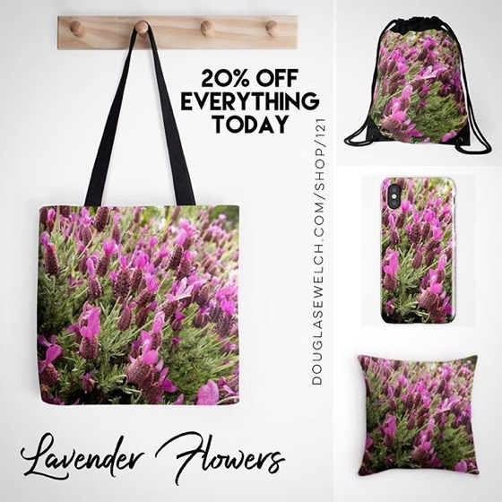 20% OFF Everything Today! -- Lovely Lavender Flowers Totes, Pillow, iPhone Cases, and Much More!