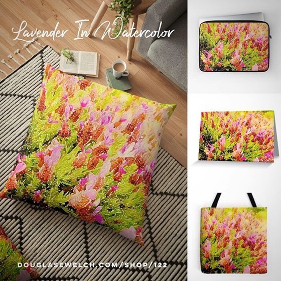 Lavender in Watercolor Totes, Pillows, Laptop Sleeves, Cards, and Much More!