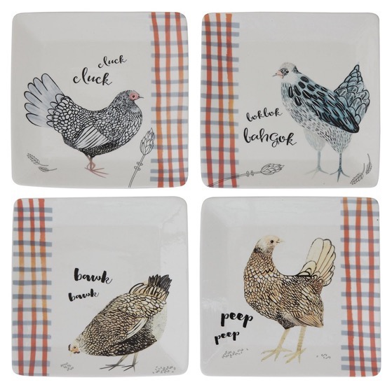 In The Kitchen: Creative Co-op Square Stoneware Plate - Chickens