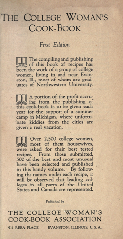 Historical Cooking Books: The college woman's cook book by College Woman's Cook Book Association (Evanston, Ill.) (1923) - 10 in a series
