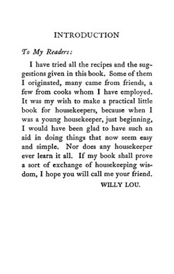 Historical Cooking Books: Willy Lou's house book; a collection of proved recipes, hints and suggestions for practical cooking, housekeeping and housewifery by Charlotte Amelia Cheesebro Hough,  (1913) - 12 in a series