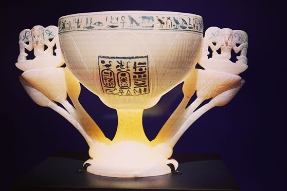 Two handled alabaster chalice - King Tut: Treasures of the Golden Pharaoh via Instagram