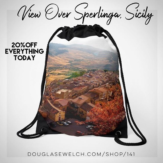 20% OFF Everything Today! – Travel to Persephone's Island With These View Over Sperlinga Drawstring Bags and Much More!