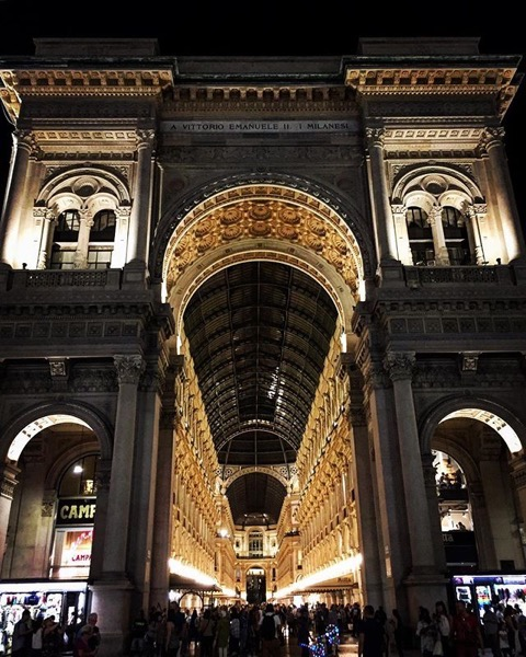 Galleria Vittorio Emanuele II in Milan at Night via Instagram