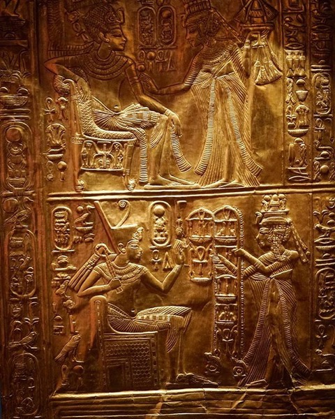 Golden chest with relief carvings via Instagram