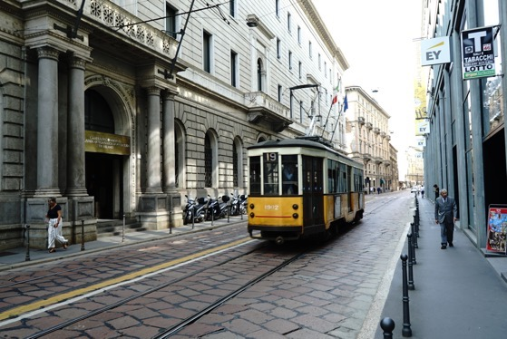 Milan Street Scene with Tram Milano Italy
