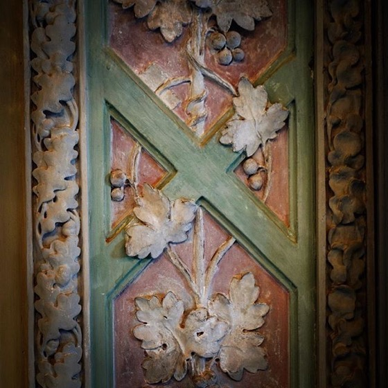 Wood carving decoration detail, Villa Reale, Monza, Italy via Instagram