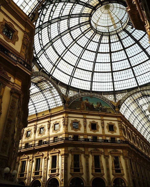 Striking 19th Century architecture of the Galleria Vittorio Emanuele II in Milano via Instagram