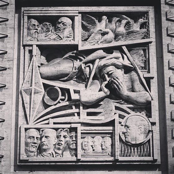 1930s Era Bas Relief, Piazza Affari, Milano, Italia via Instagram