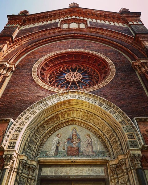 Chiesa di Santa Maria del Carmine with mosaic tile artwork over the door via Instagram