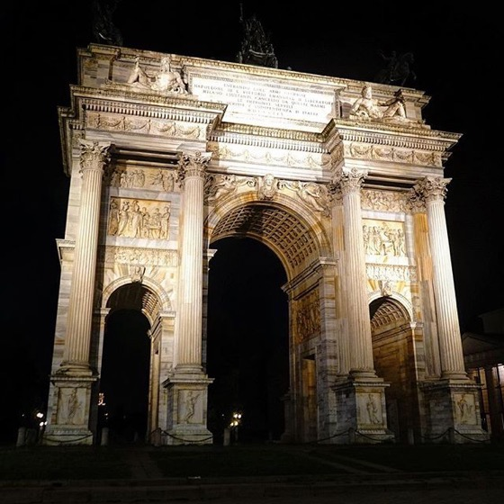 Arco della Pace at Night via Instagram