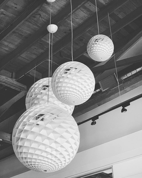 Lighting at Helms Bakery Design Center, Culver City, California via Instagram