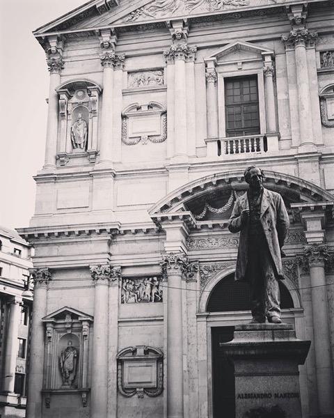 Birthplace and Statue of poet and novelist Alessandro Manzoni, Milano, Italia via Instagram