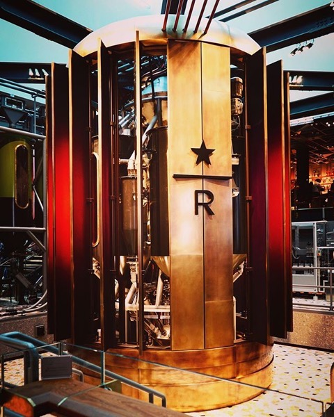 Huge, gleaming, coffee roaster inside of @starbucksmilanoofficial via Instagram
