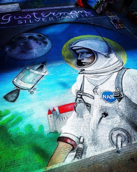 Apollo Era Astronaut, Denver Chalk Art Festival via My Instagram