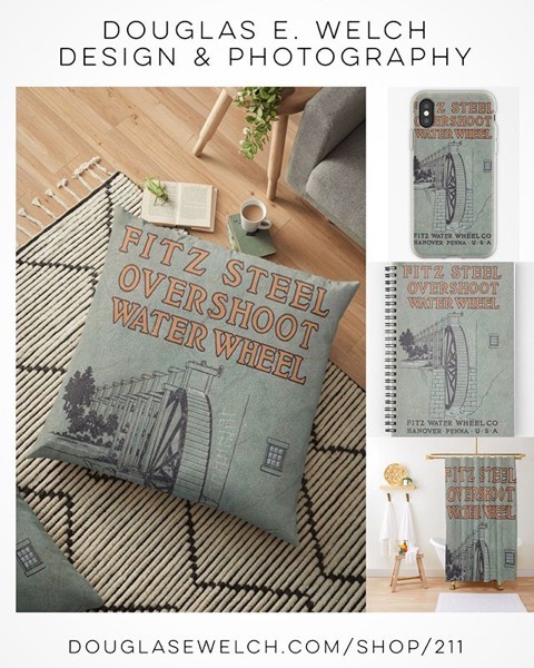 Celebrate The Past With These Vintage Waterwheel Catalog Pillows, Drawstring Bags, Shower Curtains, iPhone Cases and Much More! [For Sale]