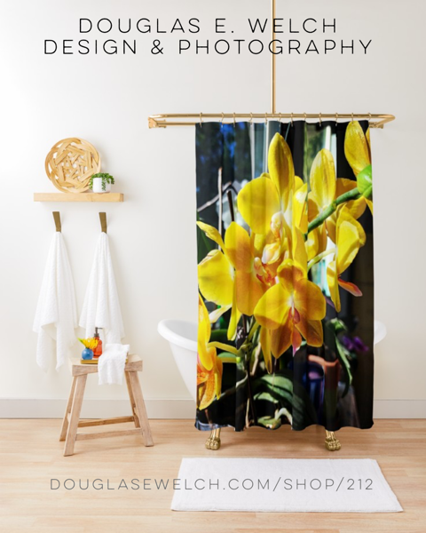 New Design and Products - Enjoy This Yellow Orchid Shower Curtain and More and More From Douglas E. Welch Design and Photography [For Sale]