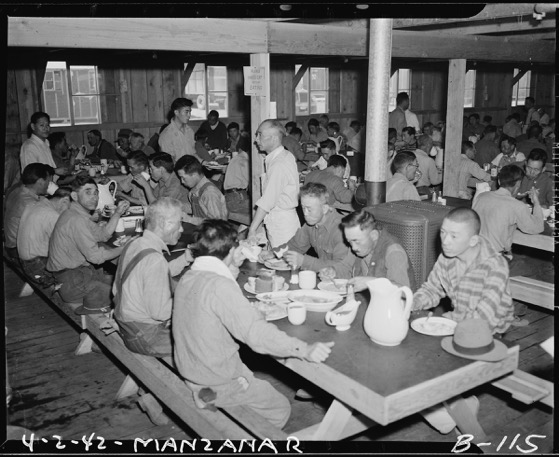 Mealtime at Manzanar Relocation Center. Image credit: National Archives (ARC Identifier: 536863)