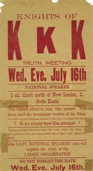 1920's Era KKK Flyer from my Ohio hometown