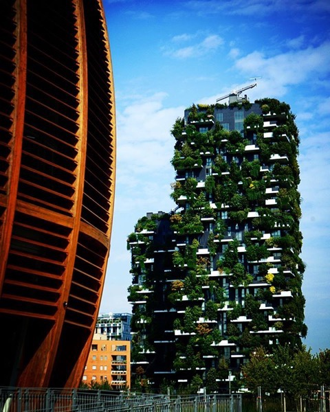 Bosco Verticale and Piazza Gae Aulenti, Milano, Italy via Instagram