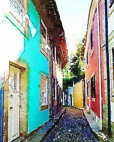 Street Scene, Foz, Porto, Portugal (Watercolor) via Instagram