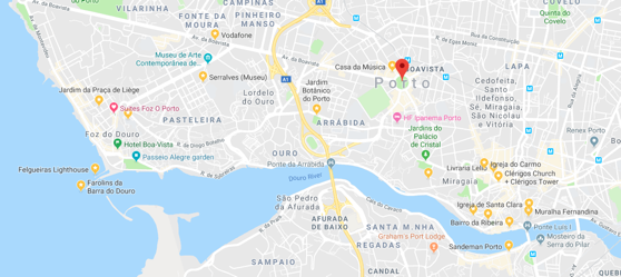 Google Map of Porto woith sights marked
