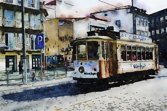 Historic Tram, Porto, Portugal (Watercolor) via Instagram