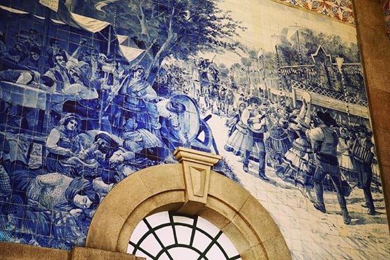 Tile Murals at Porto, Portugal Train Station via Instagram