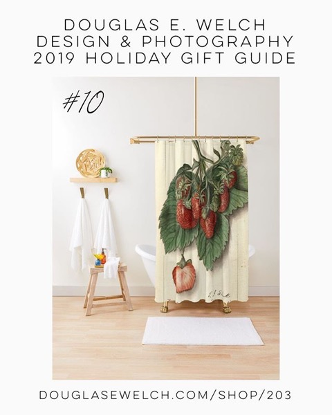 Holiday Gift Guide 2019 10: Vintage Strawberries Shower Curtain and More! [For Sale]