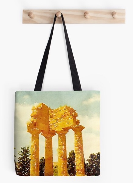 Holiday Gift Guide 2019 02:: Temple of Castor and Pollux in Watercolor Tote Bag